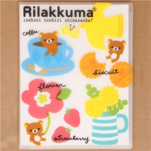 Rilakkuma Notepad exercise book with coffee cup & flower