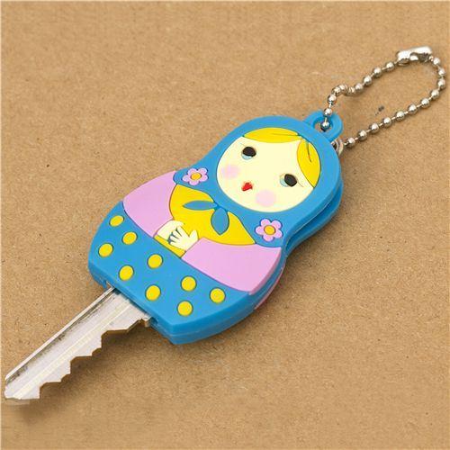 cute turquoise matryoshka key cover charm