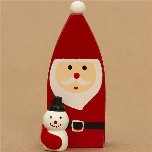 cute Santa Claus with snowman Christmas card holder