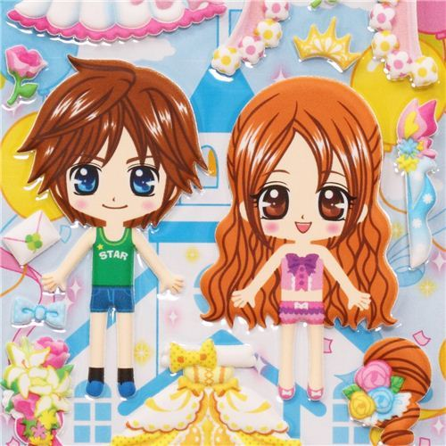 bridal couple dress up doll puffy sponge stickers wedding