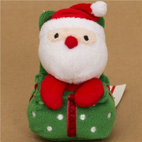 cute Santa Claus in Christmas present plush charm