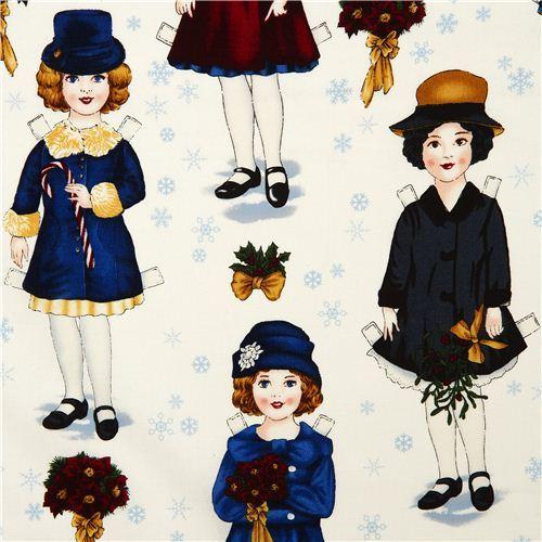 white Christmas fabric paper dolls Robert Kaufman