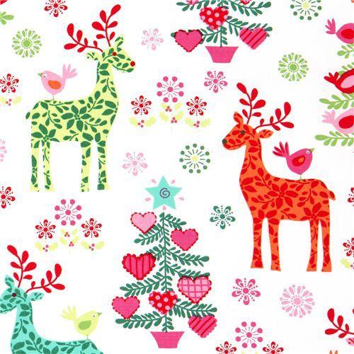 white Christmas fabric reindeer fir tree by Michael Miller