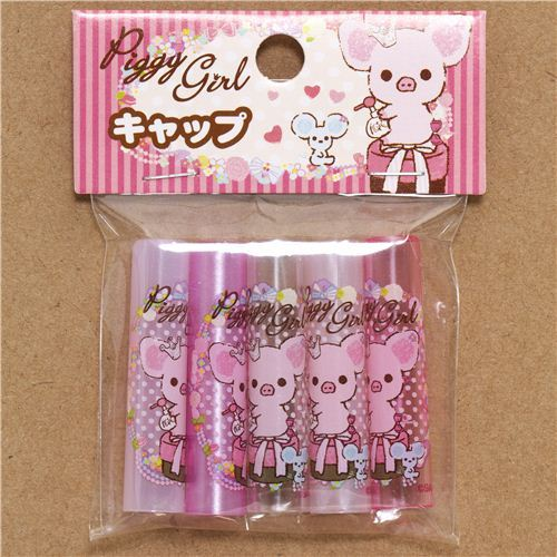 pencil caps with Piggy Girl pig & dots San-X