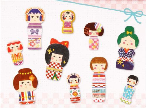 kawaii colourful patterned small dolls sticker sack