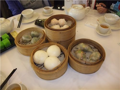 lots of yummy dim sum dishes