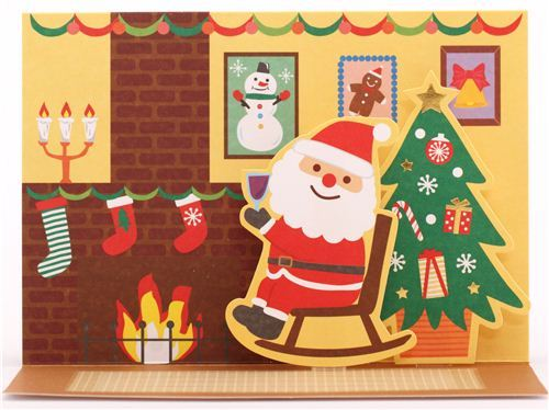 cute Santa Claus rocking chair Christmas glitter letter pop-up card from Japan