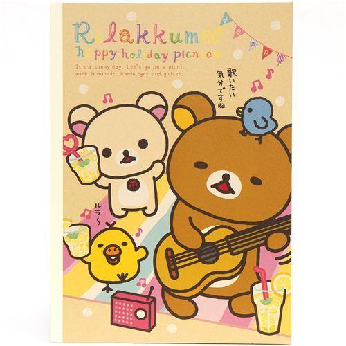 Rilakkuma bear Notepad drawing book picnic & guitar