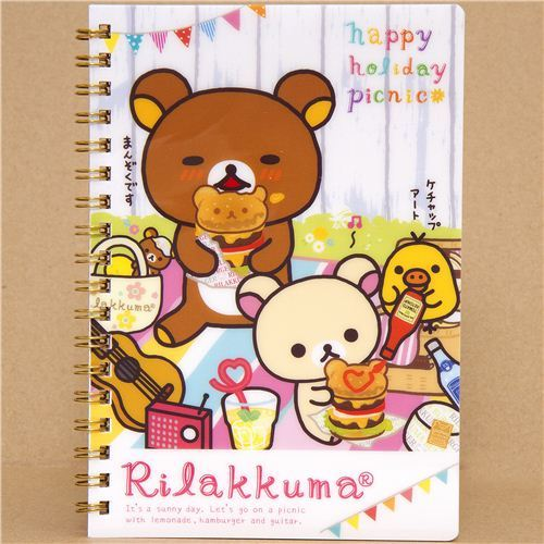 Rilakkuma bear ring binder notebook picnic & burger