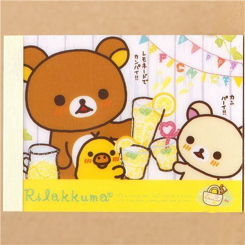 San-X Rilakkuma bear mini Memo Pad picnic & lemonade