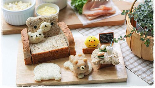 Cute toast bread home with sofa and table for Rilakkuma and friends.