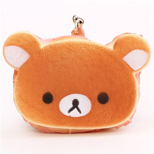 Rilakkuma bear sandwich bread pink squishy cellphone charm