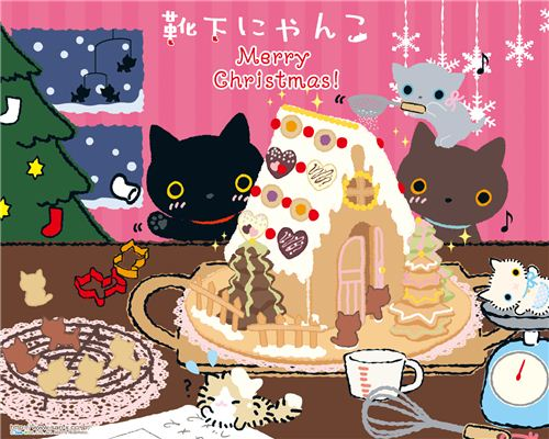 Kutusita Nyanko Christmas wallpaper with Gingerbread House