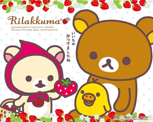 Rilakkuma wallpaper with strawberries