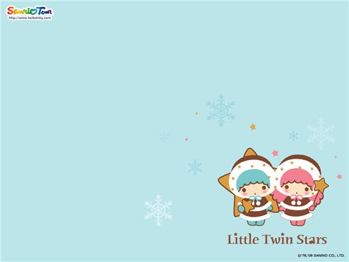 Little Twin Stars winter wallpaper found on kawaiiwallpapers.com