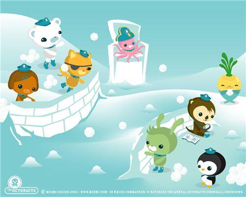 Fun Meomi snowball fight wallpaper