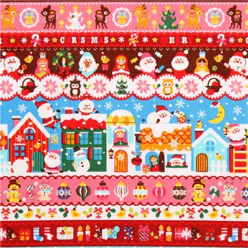 Santa Claus matryoshka stripe Cosmo Christmas fabric