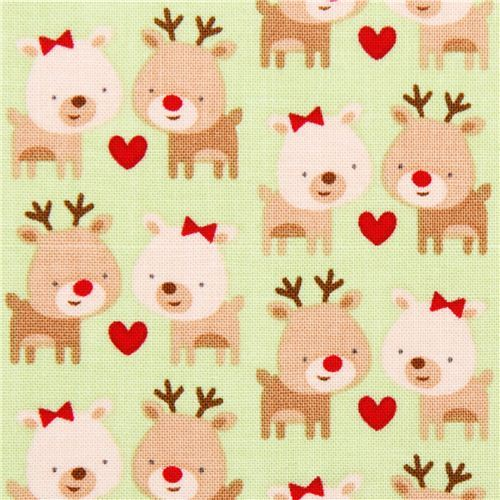 green Riley Blake reindeer Xmas fabric Home for the Holidays