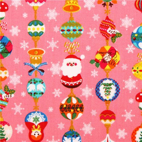 hot pink Christmas tree ornament Cosmo Christmas fabric