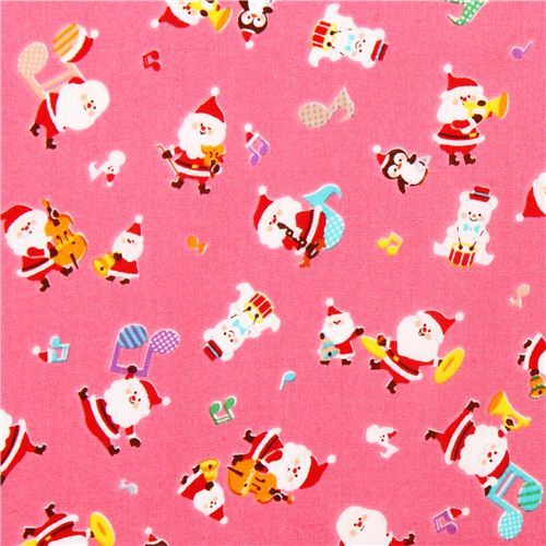 hot pink Santa Claus music Cosmo Christmas fabric
