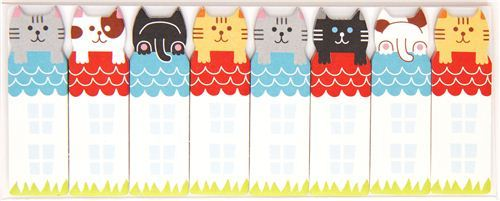 cute bookmark stickers colourful cats on roof Post-it