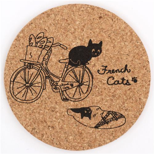 brown black French Cats bicycle cork coaster from Japan