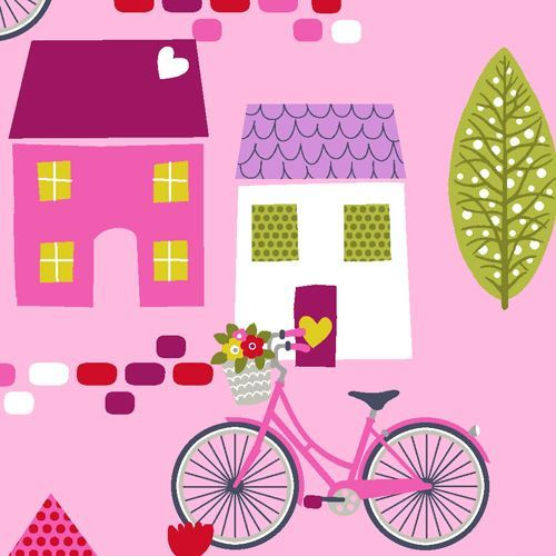 pink cute bicycle house tree fabric by StudioE 'Around Town'