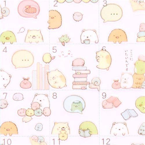 San-X Sumikkogurashi shy animals calendar stickers