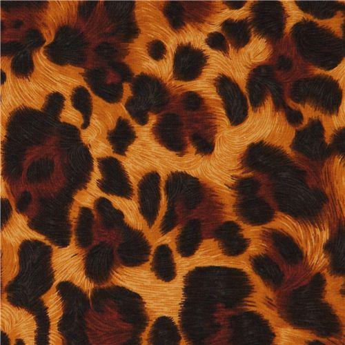 caramel Robert Kaufman knit fabric leopard print