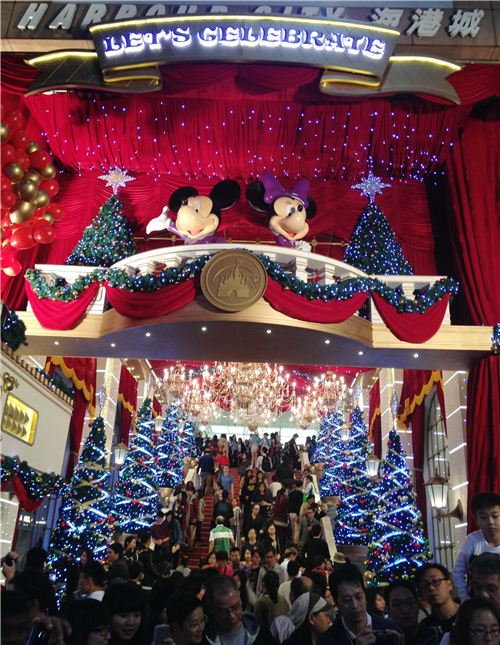 Mickey and Minnie welcome you at the Disney Christmas decoration of Harbour City in Hong Kong