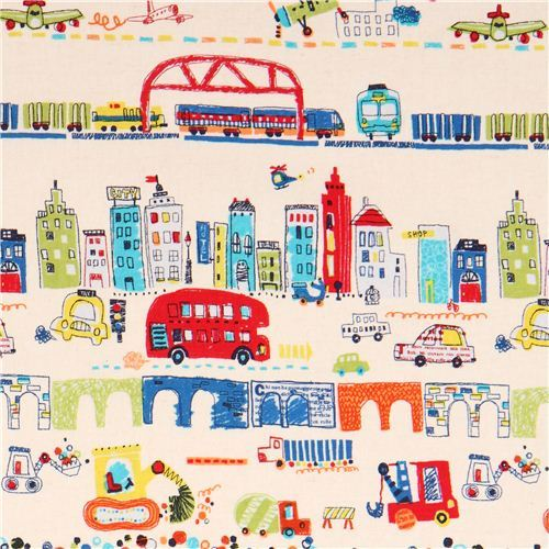 cream airplane train bus Canvas fabric from Japan