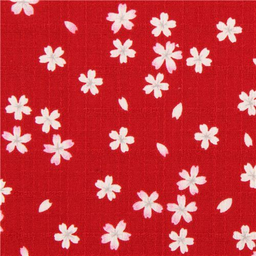 structured red cherry blossom Asia Dobby fabric