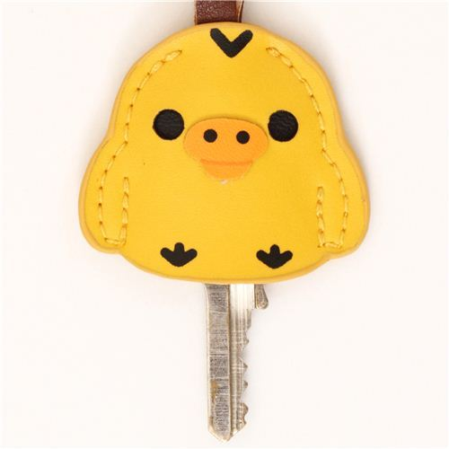 Rilakkuma yellow chick artificial leather key cover charm