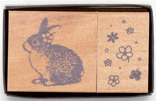 cute bunny wooden stamp set 2 pieces