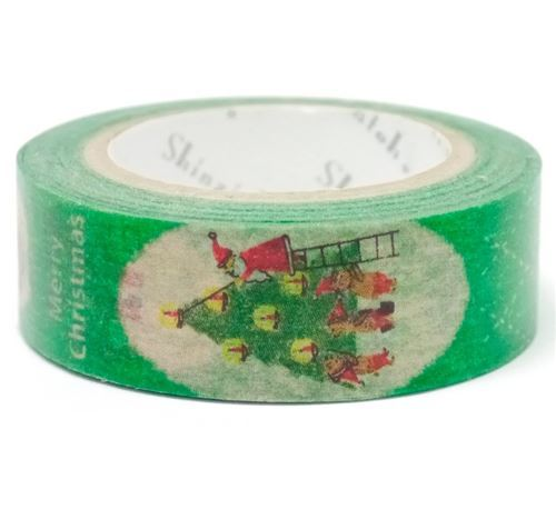 green with Christmas tree Santa Washi Masking Tape deco tape Shinzi Katoh
