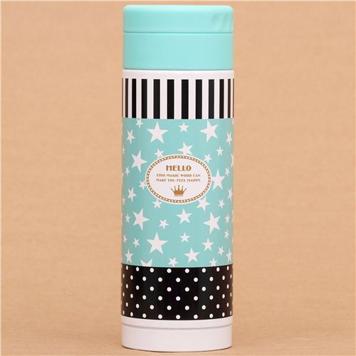 turquoise stars thermo bottle from Japan