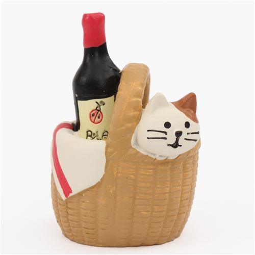 cute brown basket with cat and drink figure picnic animals from Japan