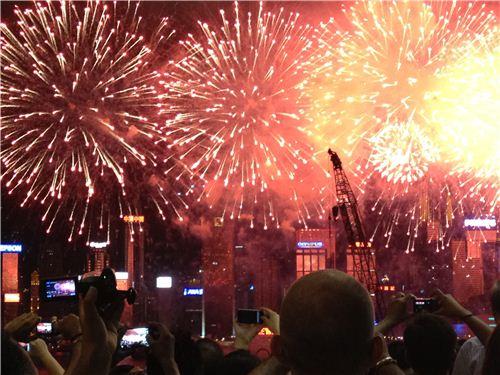Impressive fireworks in Hong Kong on Handover Day
