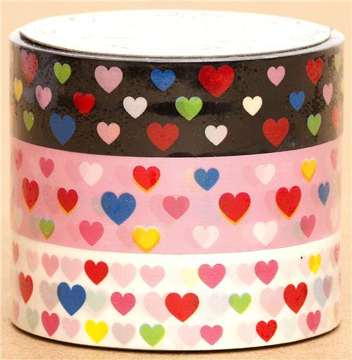 Sticky Tape set with colourful Hearts