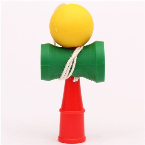 yellow-green-red Kendama classic game eraser by Iwako from Japan