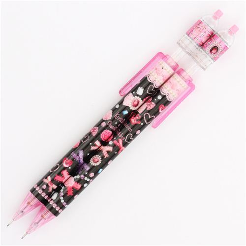 cute black pink rose ribbon jewelry mechanical pencil Japan