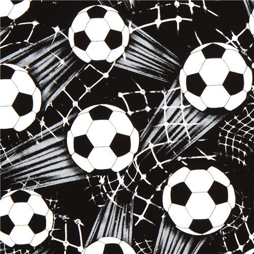 black Soccer Ball Timeless Treasures fabric from the USA