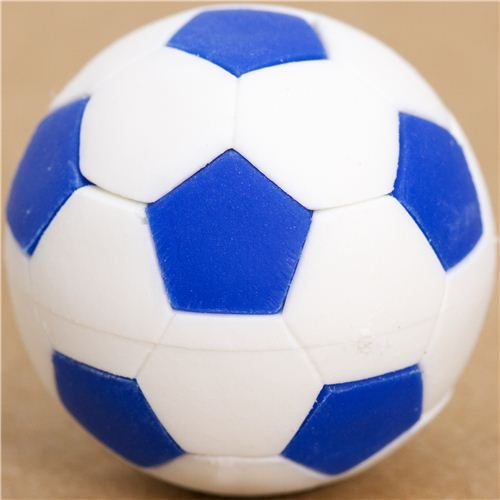 cool blue and white soccer ball eraser by Iwako