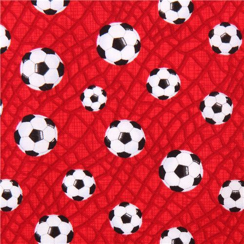 red mini football soccer fabric for boys Timeless Treasures
