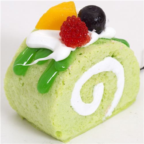 green cake with green sauce squishy cellphone charm