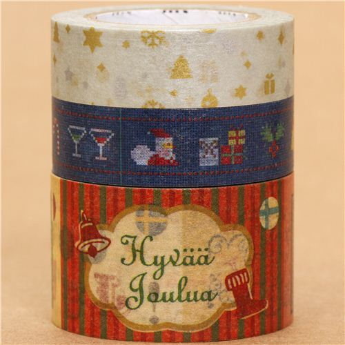 Christmas mt Masking Tape deco tape set 3pcs stars & tree