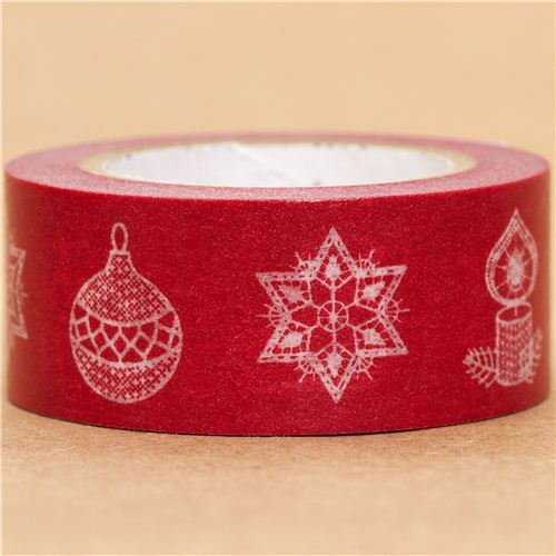 red Christmas mt Washi deco tape star Christmas tree ball
