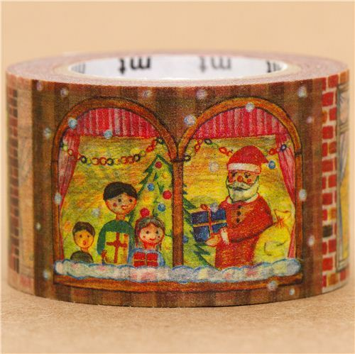 wide Christmas mt Washi deco tape with people in windows