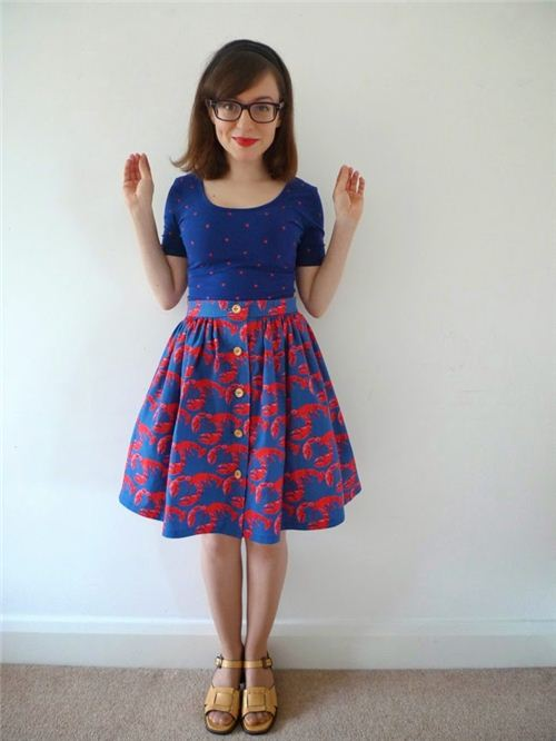 Tilly from the blog Tilly and the Buttons made this beautiful skirt with our lobster fabric