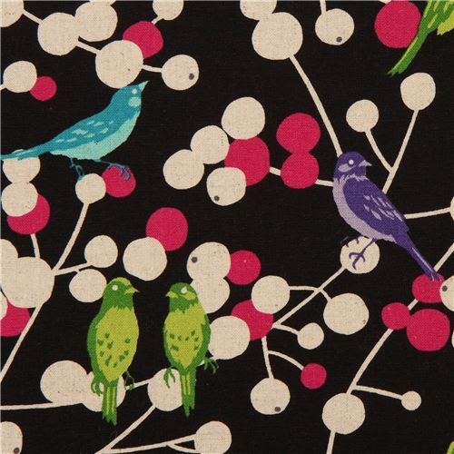 black echino birds and berries canvas fabric cherry